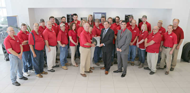 General Motors and Chevrolet recognized Macke Motors with the 2016 Mark of Excellence Award.  The award is presented to Chevrolet dealers from across the country who achieve outstanding sales performance and customer satisfaction. Macke Motors has now been the recipient of this award for 12 years. Pictured in front are Gus and Nancy Macke, Bill Elbert and Vince Belpulsi. In the middle row are Randy Pratt, Randy Anthofer, John Werneberg, Jenifer Villhauer, Stephanie Gorden, Harry Presley, Jason Sibenaller, Jim Steinkamp, Mark Holst, Megan Cornelius, Kevin Hike and Marc Melody. In the back row are Randy Ewoldt, Dave Mohr, Alec Ellis, Luke Anstoeter, Adam Wilson, Tony Darveau, Morgan Schamel, Kevin Tigges, Mike Railsback, Jeremy Harms, Tim Hoefling, Rudy Babe and Tony Macke.