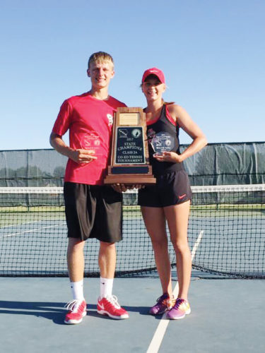 Submitted photo  Fort Dodge's Jonny Bowser and Beth Murman pose with their second consecutive co-ed state tennis title on Tuesday in Ankeny.