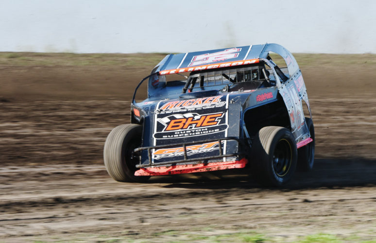 Messenger photo by Britt Kudla  Chase Ellingson of Iowa Falls competes in the Modifieds A-feature at Sports Park Raceway earlier this season.