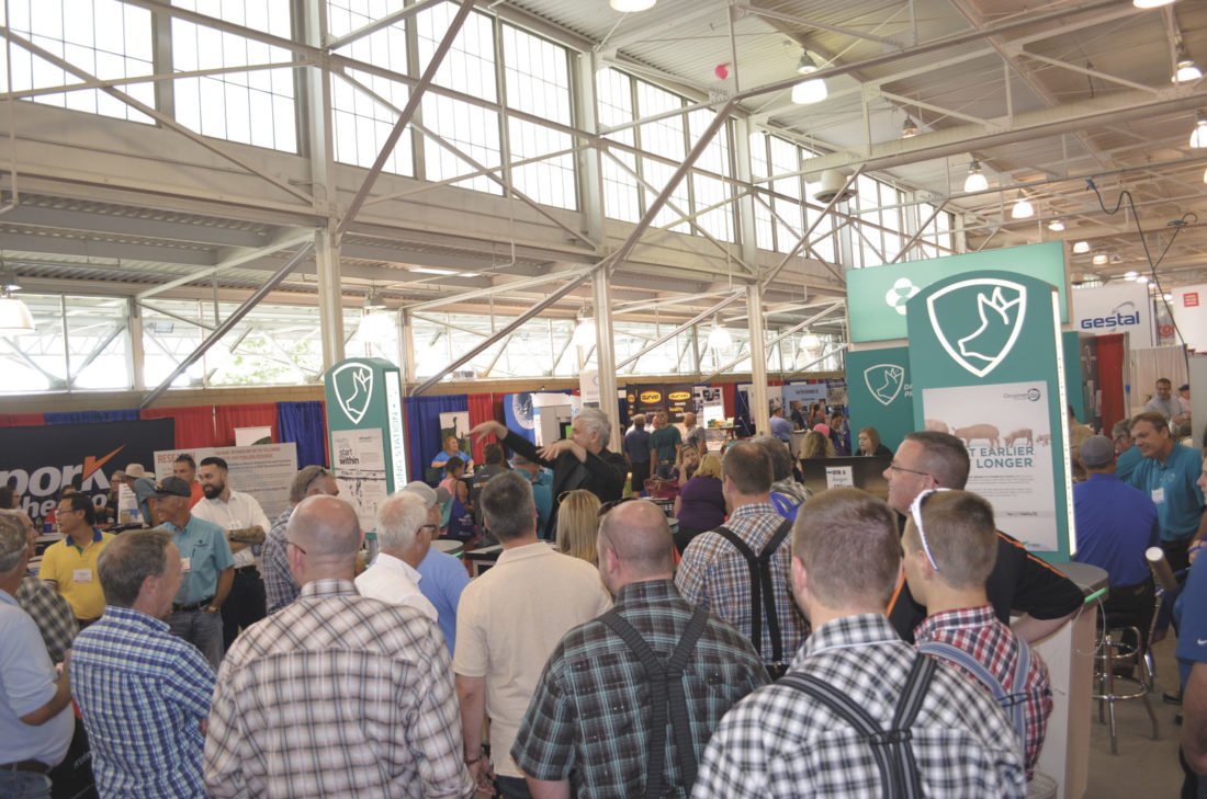 -Messenger photo by Kriss Nelson  The World Pork Expo drew a crowd of nearly 20,000 people this year. The trade show is a popular part of the expo, featuring hundreds of commercial exhibitors.