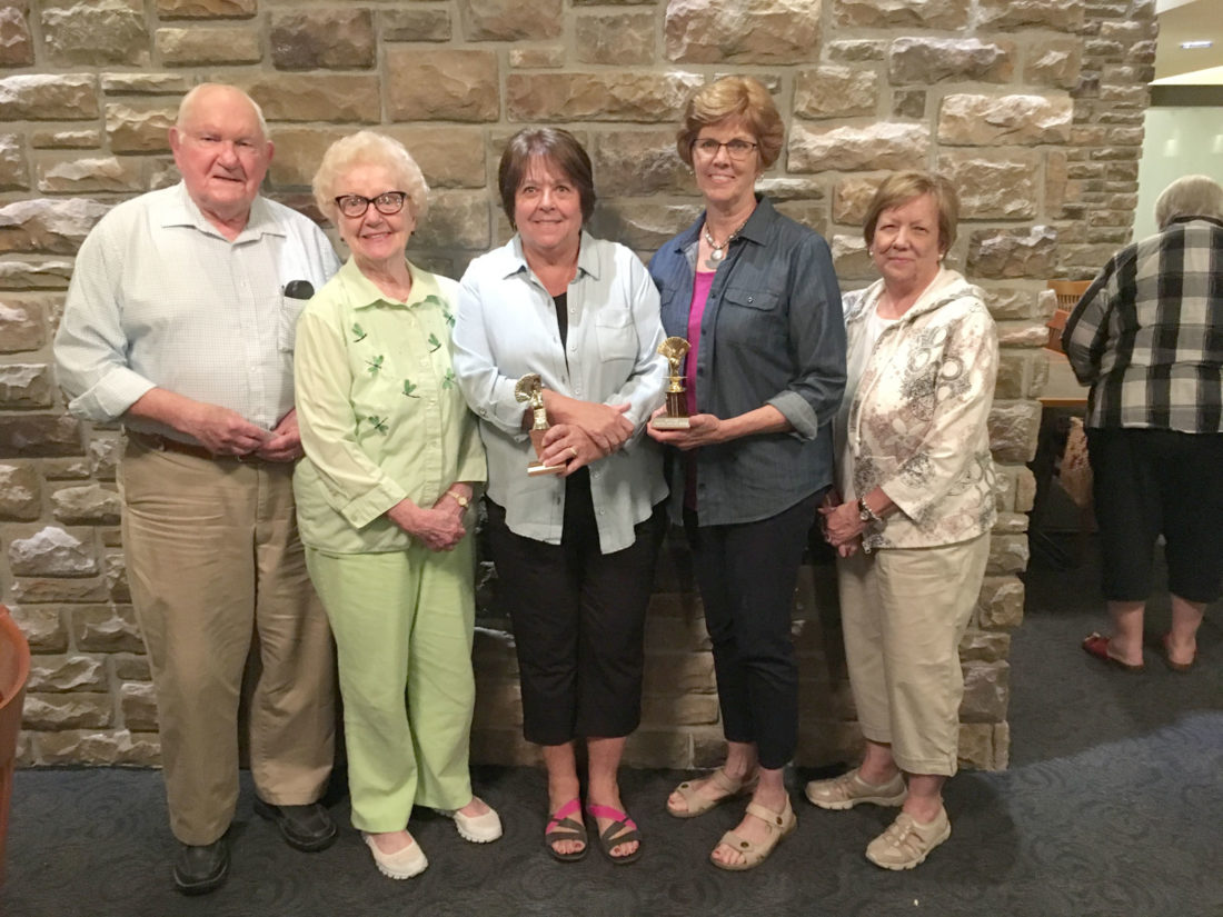 The Friends of the Unity Point Health Bridge Marathon held playoffs on June 7 at Friendship Haven.  Bonnie Calvert and Pat Bennett finished first with 30,220 points, Kathy Carroll and Diane Knupp finished 2nd with 23,650 points, and Gloria and Tom Engler were 3rd with 22,960 points.  The 26 teams of bridge players donated total of $1,080 to two organizations: $780 to Friends of Unity Point Health and $300 to Friendship Haven. Pictured are the third-place team of the Englers, first-place team of Calvert and Bennett and Kathy Carroll, second place. Knupp is not pictured.