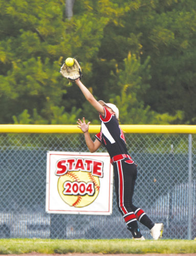 -Messenger photo by Britt Kudla Tehya Miller of Fort Dodge makes a catch in left field against Winterset on Saturday
