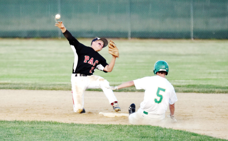 Messenger photo by Britt Kudla  Shea Ruffridge of Pocahontas Area starts a double play as St. Edmond's Connor Allison slides into second base on Tuesday at Rogers Park. For more photos, visit CU.messengernews.net