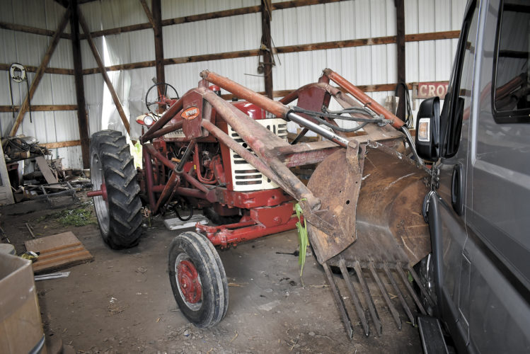 -Messenger photo by Chad Thompson  A 1957 Farmall tractor reportedly drove itself back home after a man fell from it about a quarter mile away from this machine shed, according to Trooper Brenda Rinard, of the Iowa State Patrol.