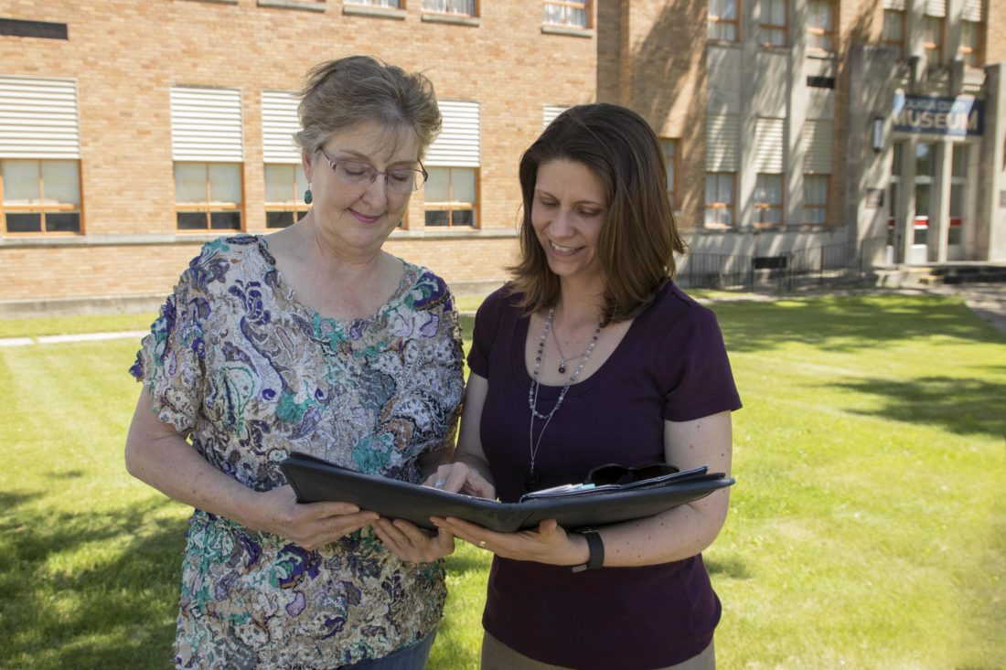 -Messenger photo by Darcy Dougherty Maulsby  Jill Heisterkamp, right, executive director of Calhoun County Economic Development Corp., talks with Carol Thompson, chair of the Calhoun County Historic Preservation Commission.