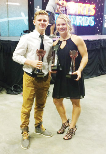 —Submitted photo  Brody Teske of Fort Dodge and Pocahontas Area's Elle Ruffridge stand together at the All-Iowa Sports Awards banquet on Saturday in Des Moines.