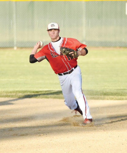 Messenger photo by Britt Kudla  Bryce Bradley of Algona makes a throw to first against St. Edmond on Monday at Rogers Park. For more photos, visit CU.messengernews.net