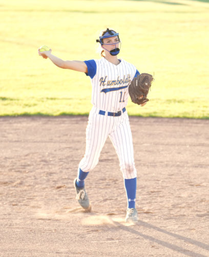 Messenger photo by Britt Kudla  Avery Terwilliger of Humboldt makes a throw to first base earlier this season.