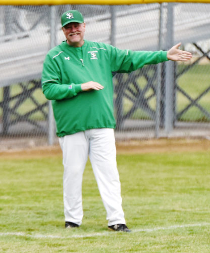 Messenger file photo  Joe Shanks coaches for the Gael baseball team earlier this season.