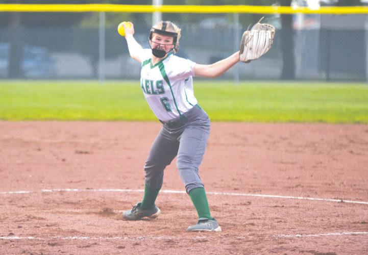 —Messenger photo by Britt Kudla  St. Edmond eighth-grader Ella Vratny helped lead the Gael softball team to an upset of No. 4 Newell-Fonda on Wednesday night in Fonda.