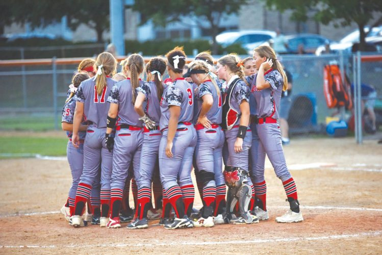 —Messenger photo by Britt Kudla  The Fort Dodge softball MEETS TOGETHER after their 4-0 loss to Valley in West Des Moines on Wednesday. For more photos, visit CU at messengernews.net