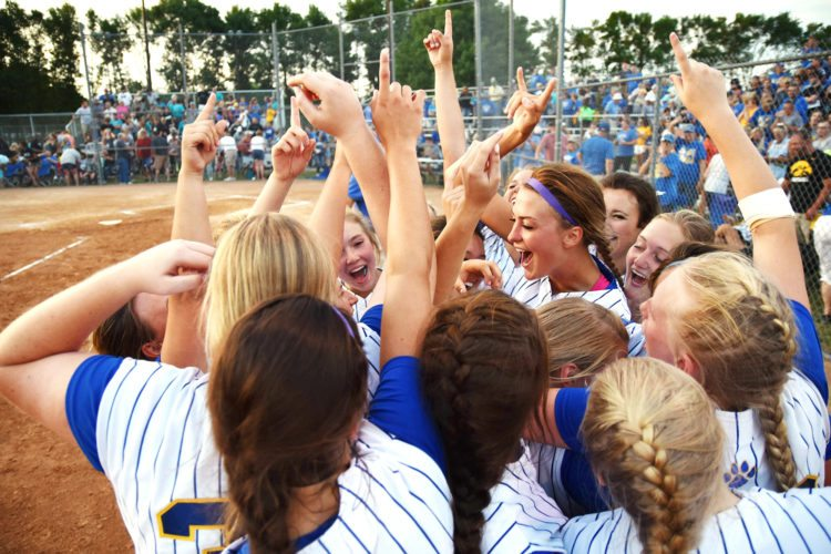 Messenger photo by Britt Kudla  Humboldt celebrates after beating Southeast Valley in a Class 3A final on Monday in Humboldt.