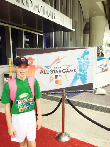 —Submitted photo  Algona's zoe Montag, a student at Bishop Garrigan, competed in Major League Baseball's Pitch, Hit and Run competition at Target Field in Minneapolis.