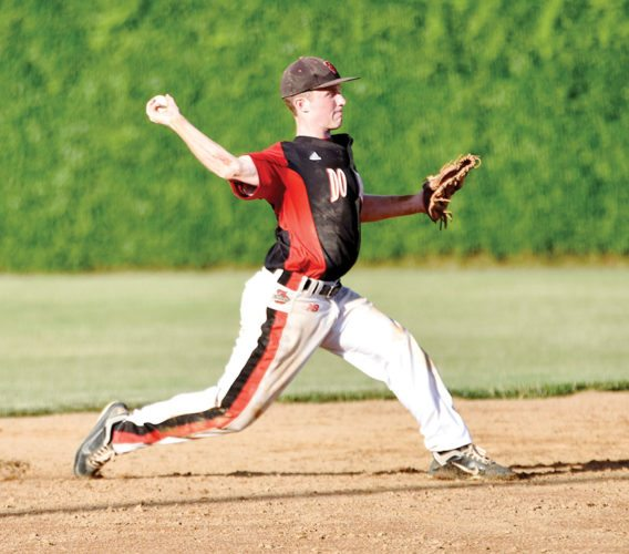 Messenger photo by Britt Kudla  Fort Dodge's Bryer Nelson, shown here during the regular season, had an RBI single to tie the score in the seventh inning at No. 9 Indianola on Friday in a Class 4A substate quarterfinal game.