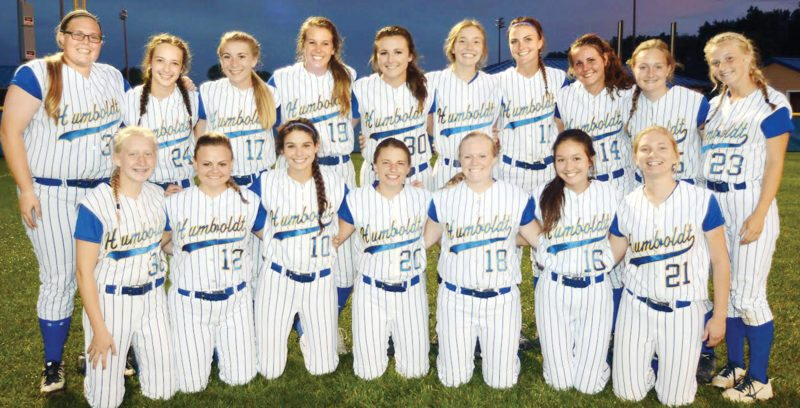 Submitted photo  Members of Humboldt's state-qualifying softball team are, front row (left to right):Mady Lange, Olivia Birdsell, Beth Duffield, Kaylee Sawyer, Maggie Bennett, Claire Varangkounh and Lizzie Tecklenburg; Back: Halie George, Kelsey Peters, Carlie Thompson, Kyah Arnold, Taylor Gidel, Ashlyn Clark, Avery Terwilliger, Ellie Jacobson, Rachel Darling and Jori Hajek.