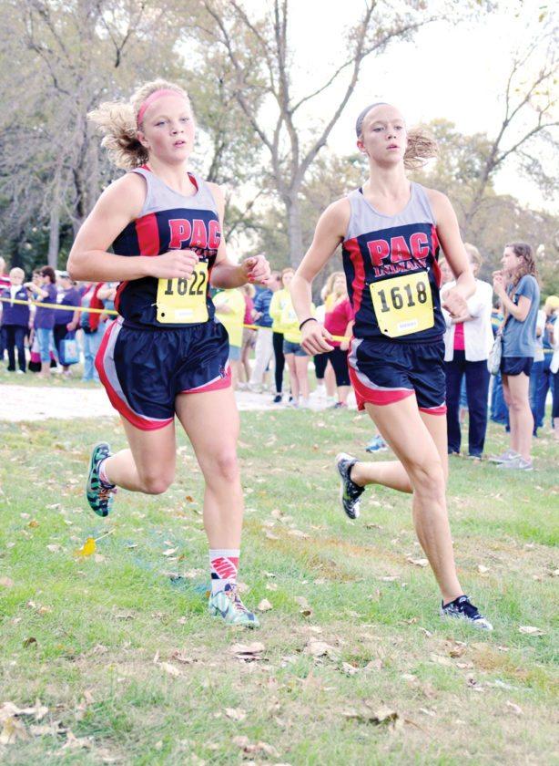 Messenger photo by Britt Kudla  Pocahontas Area's Elle Ruffridge and Grace Meyer were not only all-state basketball players, but cross country runners and track team members. Meyer also played softball at PAC.
