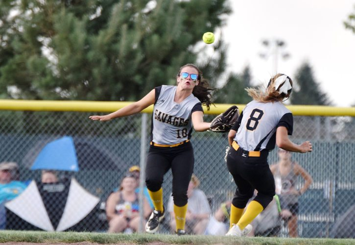 Messenger photo by Britt Kudla  Brooke Waechter of Sigourney catches a fly ball against Akron-Westfield on Monday at Rogers Park. For more photos, please visit CU.messengernews.net