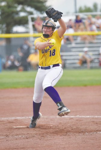 -Messenger photo by Britt Kudla Sarah Schaefer of Waukee pitches against Dowling Catholic during class 5A quarterfinals on Tuesday