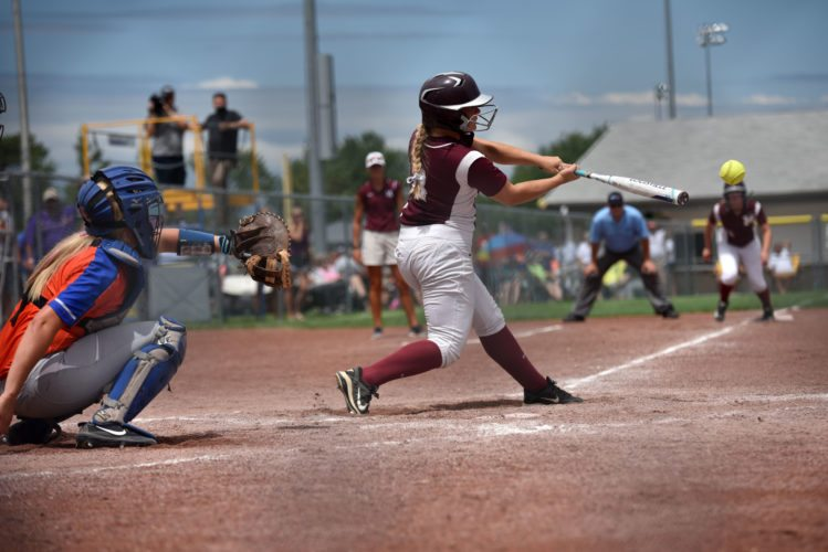 -Messenger photo by Britt Kudla Lauren Hauser of Mount Vernon hits a RBI single against Sioux Center during Class 3A quarterfinals