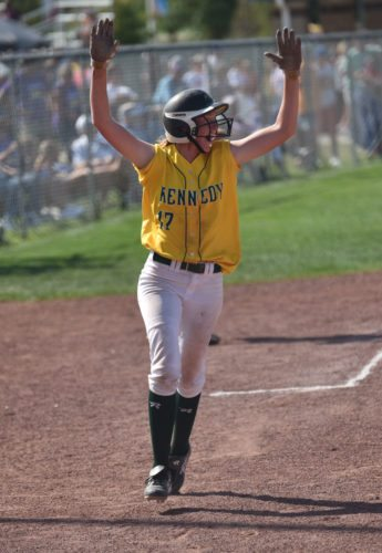 -Messenger photo by Britt Kudla Ashley Hamilton of Cedar Rapids Kennedy reacts after teammate Jenna Schwartzhoff hits her first home run against Johnston during class 5A quarterfinals on Tuesday