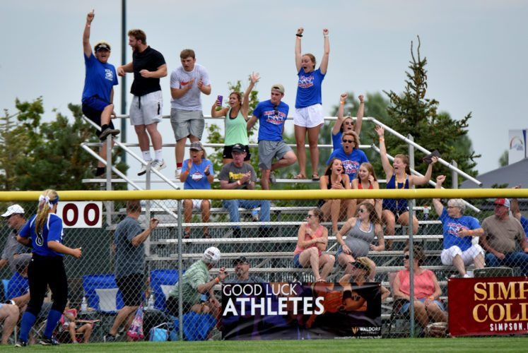 -Messenger photo by Britt Kudla Albia fans react after Hannah Isley hits a solo home run against Boyend-Hull Rock Valley during Class 3A quarterfinals on Tuesday