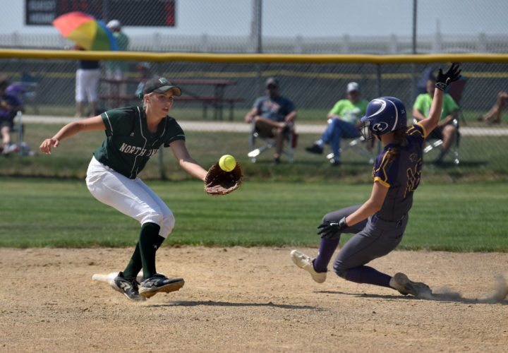 -Messenger photo by Britt Kudla Maddie Rolling of North Union misses the tag against Logan-Magnolia Kylan Straight during class 2A consolation semi-finals on Wednesday at Rogers Park
