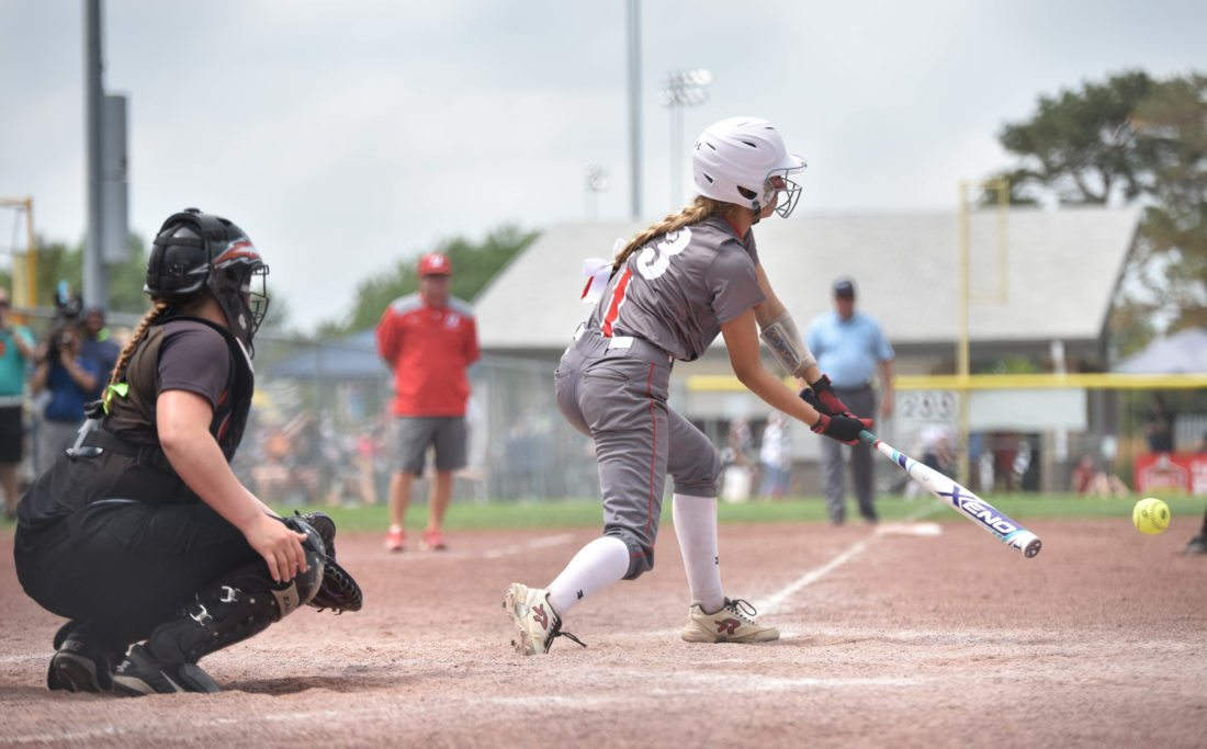 Messenger photo by Britt Kudla  Hannah Elliott of Ballard connects for a hit against Charles City during a Class 4A semifinal on Thursday at Rogers Park. For more photos, please visit CU.messengernews.net