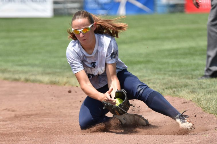 Messenger photo by Britt Kudla  Carli Spelhaug of Pleasant Valley catches a line drive against Urbandale during a Class 5A semifinal on Thursday at Rogers Park. For more photos, please visit CU.messengernews.net