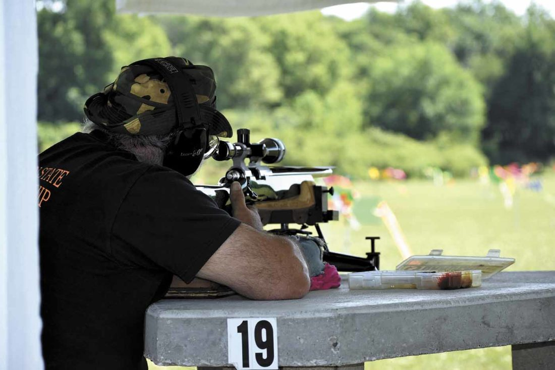 -Messenger photo by Chad Thompson  Steve Rosendale, of Holmer, Wisconsin, zeroes in on his target during a group shoot hosted by the National Benchrest Shooters Association Sunday morning. The competition was held at Boone Valley Izaak Walton near Webster City.