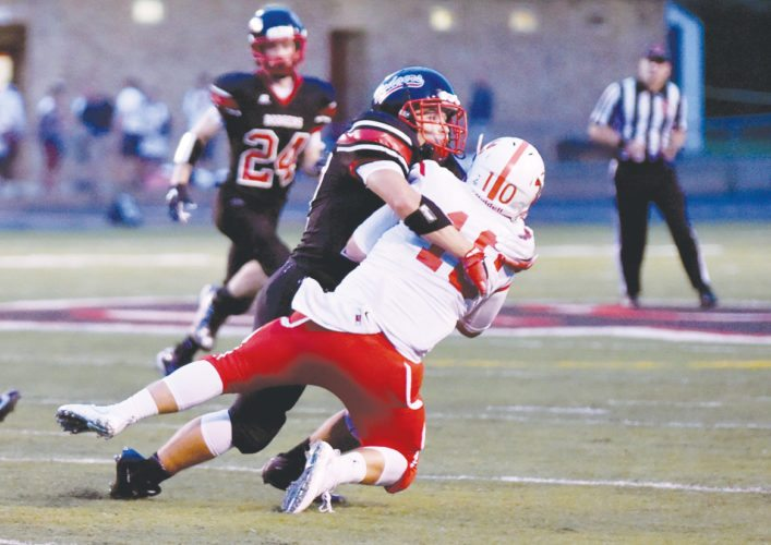 Messenger photo by Britt Kudla   Keaton Dornath makes a play for Fort Dodge last fall inside Dodger Stadium.