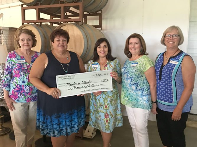 100+ Women Who Care presented a check for $10,000 to Meals on Wheels. Pictured from left are Jane Gibb, Barb Michaels, Deb Johnson, Carolyn Kent and Tammy Secor.