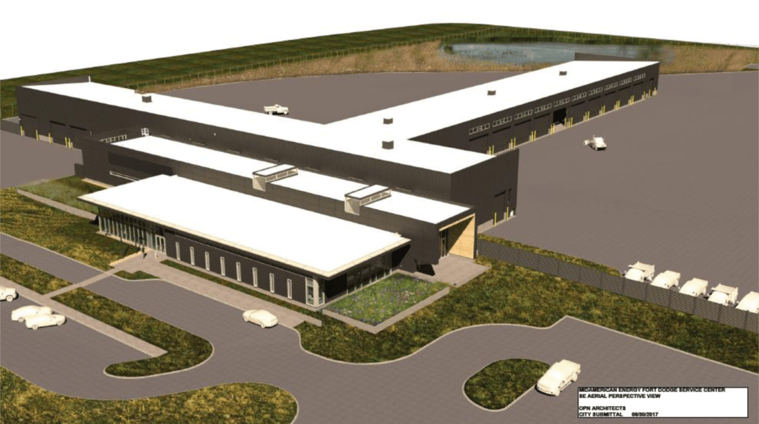 -Submitted graphic  This artist's rendering submitted to the Fort Dodge Board of Adjustment shows the proposed MidAmerican Energy Fort Dodge Service Center, to be located at 4000 First Ave. N. This is the first facility planned for the new Crosstown Industrial Park north of Decker Trucking.