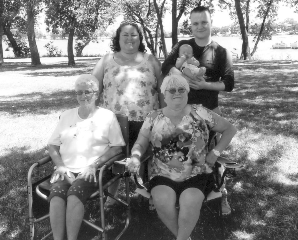Front row from the left: Mary Baker, great-great-grandmother, Sherry Wilson, great-grandmother. Back row: Misty Stenzel, grandmother, Anthony Chavez, father holding Jerimiah Chavez.