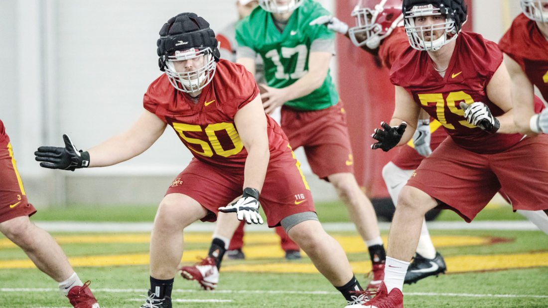 Submitted photo/ISU media relations  Humboldt's Bryan Larson works on a drill during camp at Iowa State in Ames.