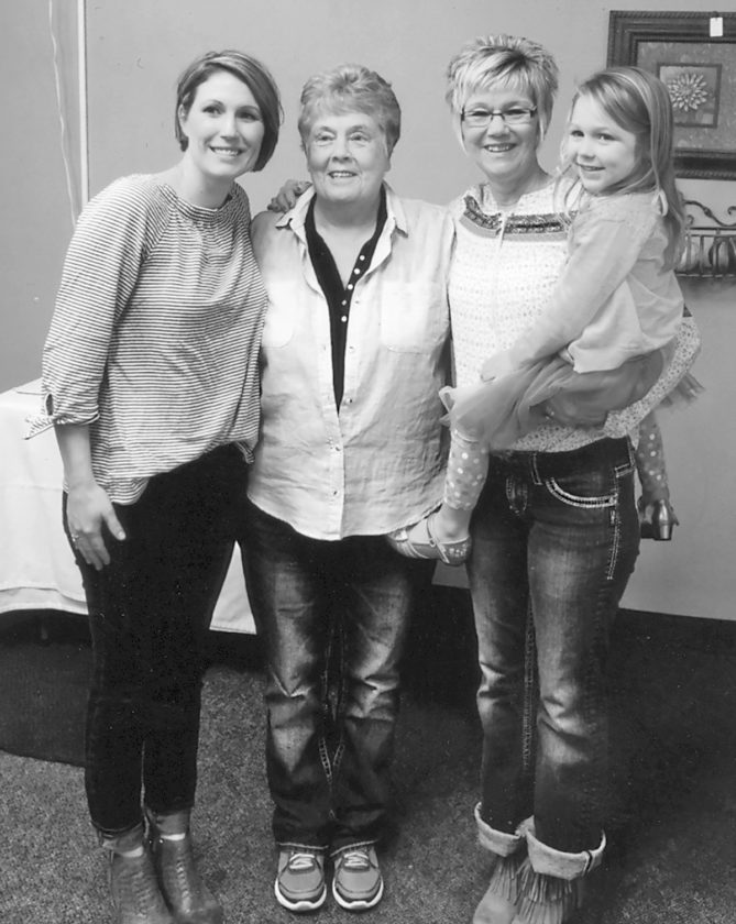 Pictured from left are Melissa Vores, mother; Phyllis Breeden, great-grandmother; Linda Arends, grandmother, holding Audrey Vores.