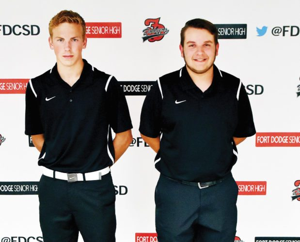 Messenger photo by Britt Kudla  Returning letterwinners for the Fort Dodge boys golf team are (left to right): Isaac Hage and Boston Gordon. Not pictured: Bennet Plane and Hoo Won.