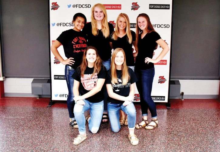 -Messenger photo by Britt Kudla Fort Dodge volleyball players are, left to right, Front Row: Josie Shirbroun, Molly Hartman Back Row: Ebonee Altman, Kacee Gollob, Beth Murman, Brooke Erickson