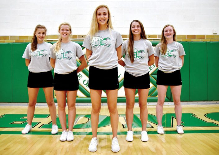 —Messenger photo by Britt Kudla  Returning letterwinners for the St. Edmond cross counry team are (left to right): Olivia Kolacia, Audrey Kolacia, Riley Mayer, Abby Landwehr and Jill Cosgrove.