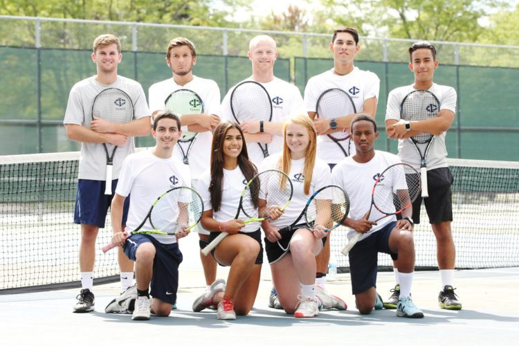 Photo by Paul DeCoursey  Returning players for the Iowa Central tennis teams include, front row (left to right):Steven Mears, Katheryne Campos, Lily Timmerman and Anthony Lekoko. Back:Coleton Hout, Nicholas Fifield, Jacob Martens, Zane Baker and Manuel Roman.