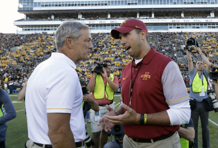 AP File Photo  Iowa coach Kirk Ferentz, and Iowa State coach Matt Campbell talk before last year's game in Iowa City.