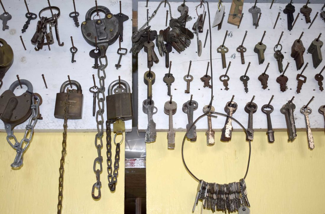 -Messenger photo by Chad Thompson  A collection of keys and locks are displayed at Rosalez Lock and Key Service.