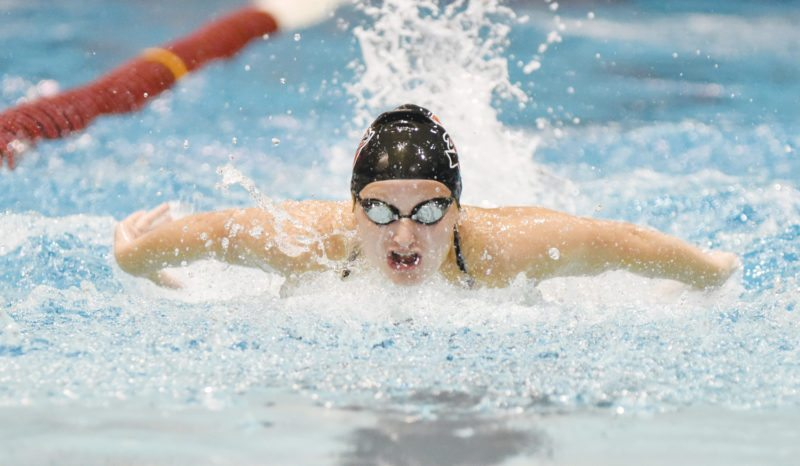 -Messenger photo by Britt Kudla Taylor Hartley of Fort Dodge compete during Girls 200 Yard Medley Relay on Tuesday