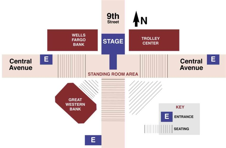 -Messenger graphic  This map shows where the Downtown Country Jam will be set up on Saturday in Fort Dodge.