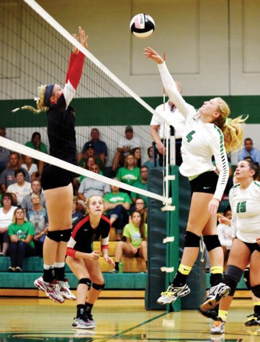 Messenger photo by Britt Kudla  Devyn Scott of St. Edmond hits the ball over the net on Tuesday against Iowa Falls-Alden. For more photos, visit CU.messengernews.net