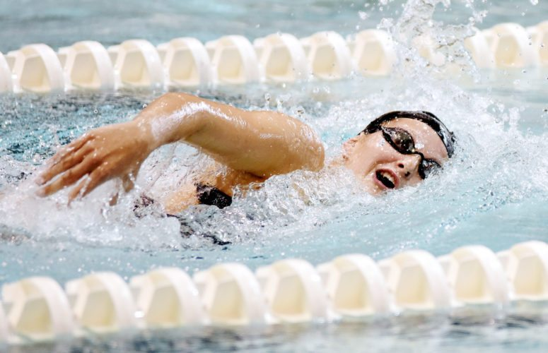 Messenger photo by Britt Kudla  Taylor Hartley of Fort Dodge competes over the weekend in the Dodger pool.