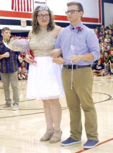 -Messenger photo by Karen Weld  Faith Nelson and Matthew Jacobsen were crowned the 2017 Homecoming queen and king at Clarion Goldfield Dows High School on Friday. Plans for the annual homecoming parade were canceled due to the extra heat index. Instead, the school held a pep rally in the gym.