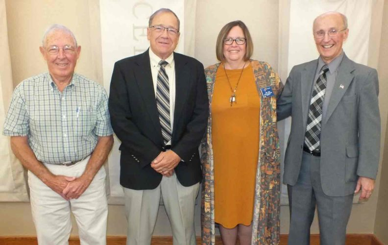 The Golden K Kiwanis Service Club of Fort Dodge recently installed new officers.  Pictured from left are are Vice President Henry Brain, President-Elect Bob Singer, Lt. Gov. Jodi Janke and President LaVerne Dass.