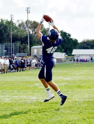 Messenger photo by Britt Kudla  Ty Sohn of Iowa Central makes the catch for a touchdown against Independence earlier this season in Manson.