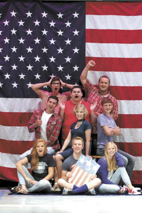 -Submitted photo A race for student body president is at the center of the Iowa Central Community College fall play called ''The Election.'' The cast includes,  (front, from left), Karlee Jones, Calvin Clark and Hannah Amhof. In the second row are Ryan Douglas, Morgan Pratkelis and Max Halligan. Nick Nordtsrom, Daulton Rokes and Tristan Knudsen are in the back row.