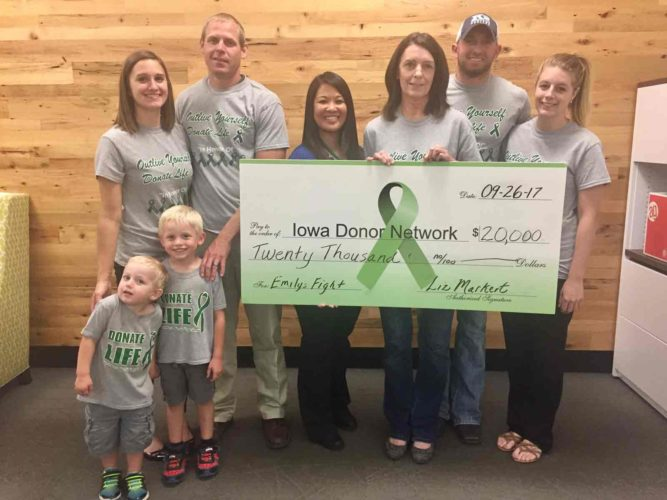 The Markert family presented a check in the amount of $20,000 to the Iowa Donor Network on Sept. 26. The money raised is from the fourth annual Emily's Fight, Donate Life 5K Walk/Run event that was held on Aug. 12. Pictured from left are Nolan Schechinger, Mary Jo Schechinger, Austin Schechinger, Dallas Schechinger, Anne Casey, Liz Markert, Kyle Markert and Chantell Hanke.